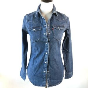 Levi's NWT denim pearl snap front button down XS